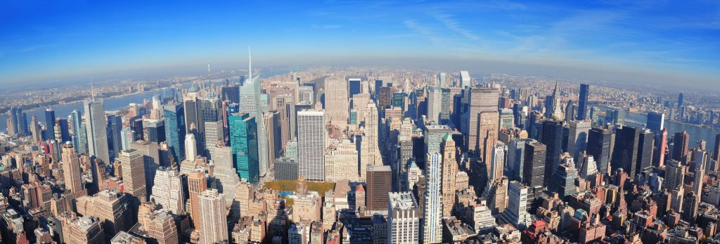 14361237 - new york city skyscrapers in midtown manhattan aerial panorama view in the day