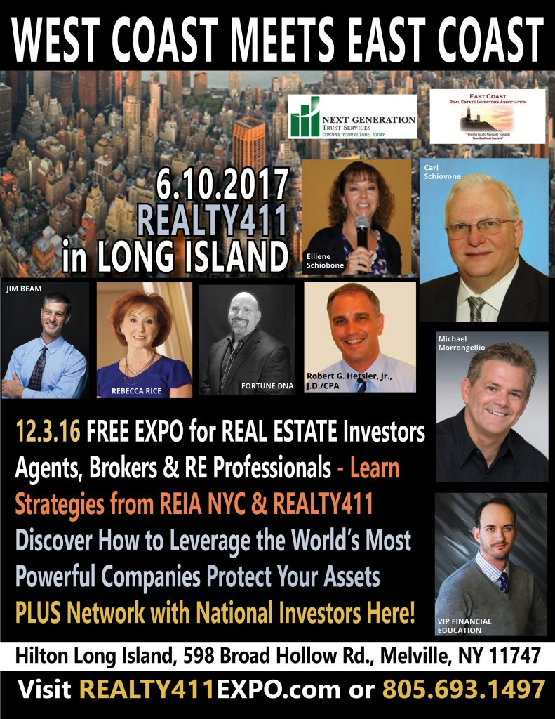 Meet Us in Melville, NY for Our Creative Real Estate Investor's Expo with East Coast REIA