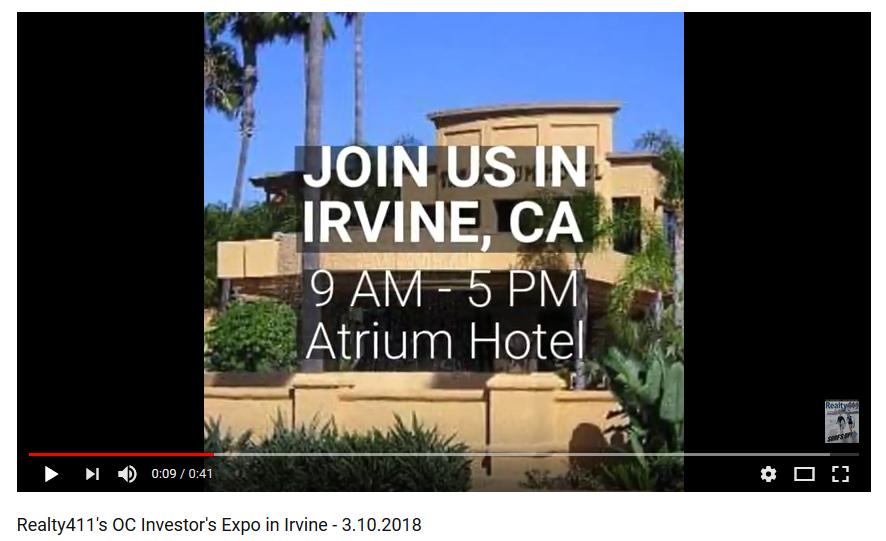 Realty411's OC Investor's Expo in Irvine – 3.10.2018